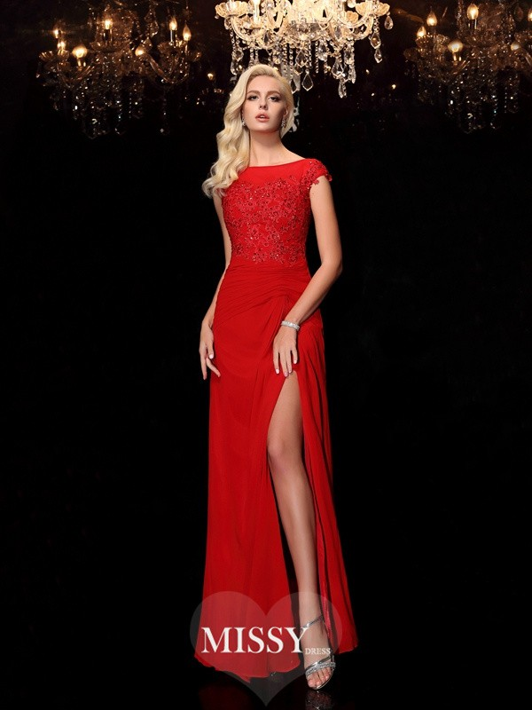 Sheath/Column Bateau Short Sleeves Floor-Length Chiffon Mother of the Bride Dresses
