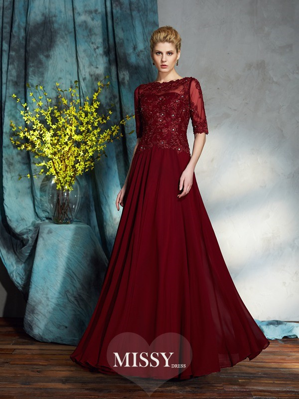 A-Line/Princess Bateau 1/2 Sleeves Applique Chiffon Floor-Length Mother of the Groom Dresses