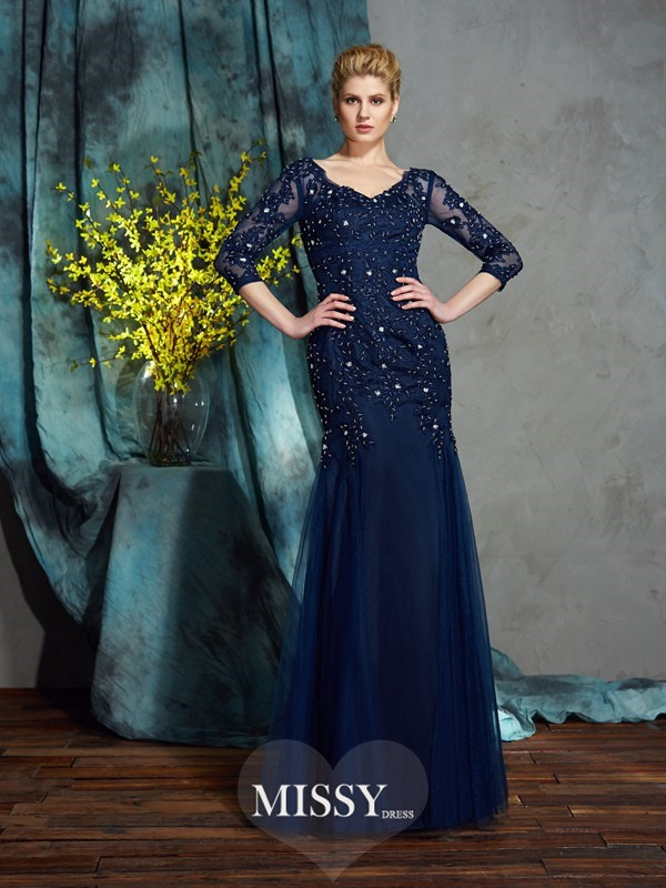 Sheath/Column V-neck 3/4 Sleeves Floor-Length Net Mother of the Groom Dress