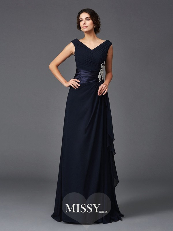 A-Line V-neck Sleeveless Applique Sweep/Brush Train Chiffon Mother of the Groom Dresses