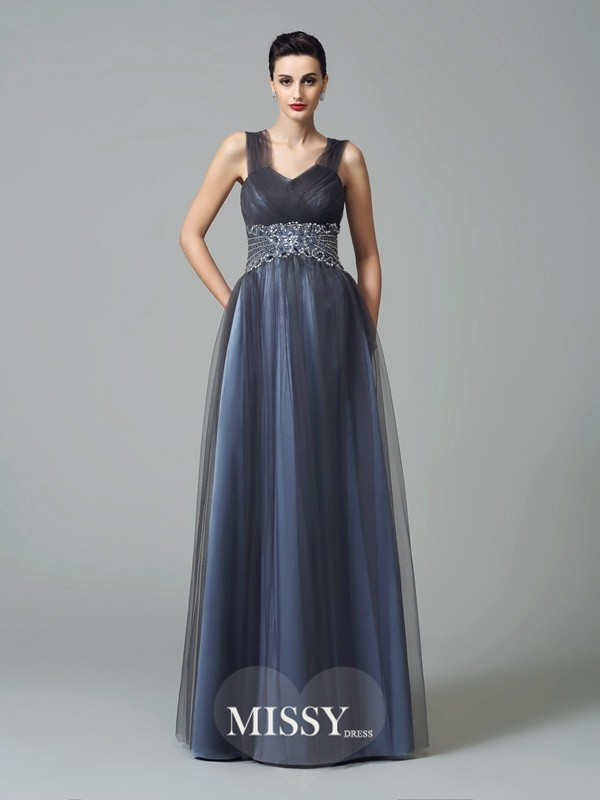 Princess Straps Sleeveless Beading Floor-Length Net Mother of the Bride Dresses