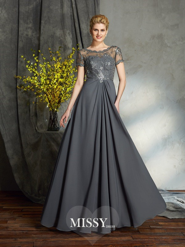 A-Line/Princess Short Sleeves Scoop Chiffon Floor-Length Mother of the Groom Dress