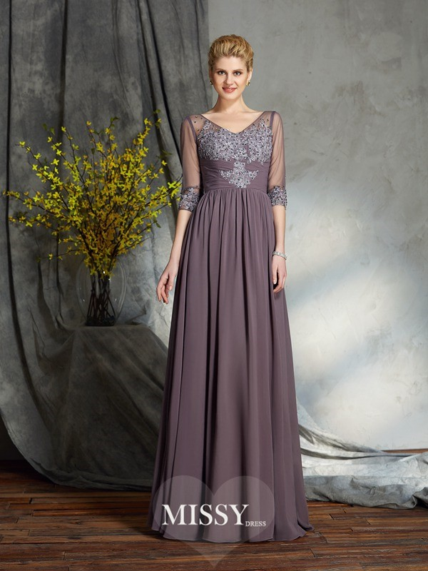 A-Line/Princess V-neck 1/2 Sleeves Floor-Length Chiffon Mother of the Groom Dress