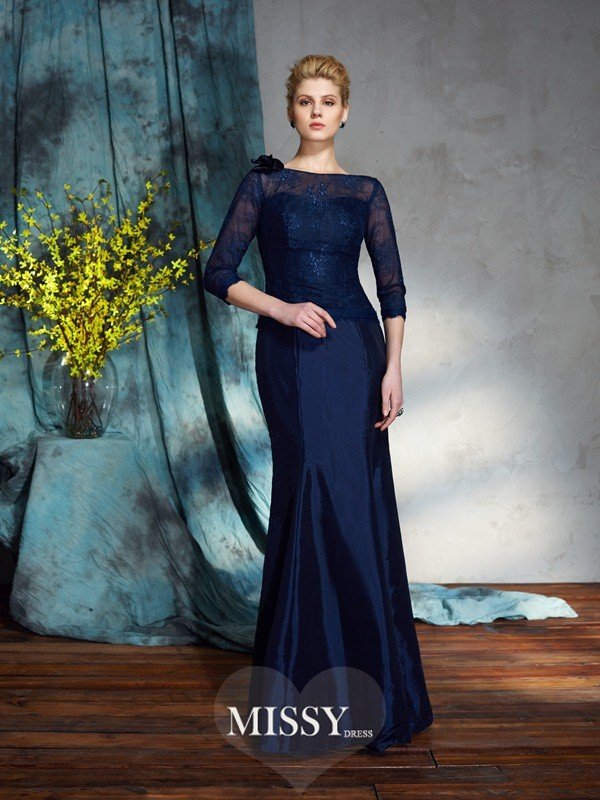 Trumpet/Mermaid Bateau 1/2 Sleeves Taffeta Floor-Length Mother of the Groom Dress