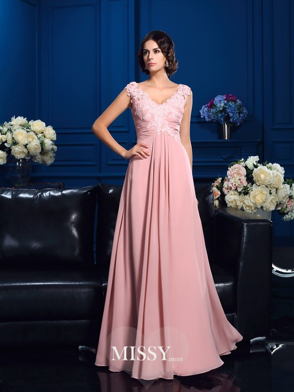 A-Line/Princess V-neck Sleeveless Floor-Length Chiffon Mother Dresses