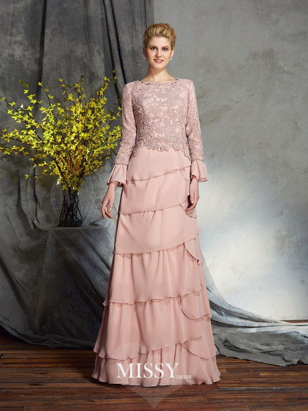 Sheath/Column Scoop Long Sleeves Ruffles Chiffon Floor-Length Mother of the Groom Dress