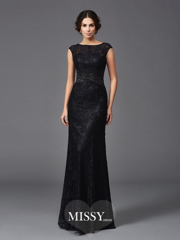 Sheath/Column Beading Sleeveless Scoop Floor-Length Lace Mother of the Groom Dresses