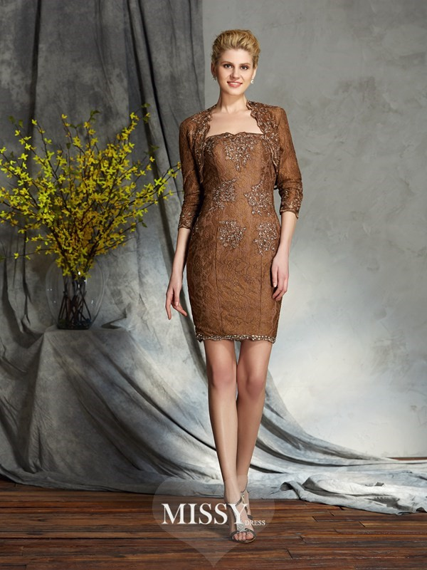 Sheath/Column Sleeveless Strapless Lace Short/Mini Mother of the Groom Dress