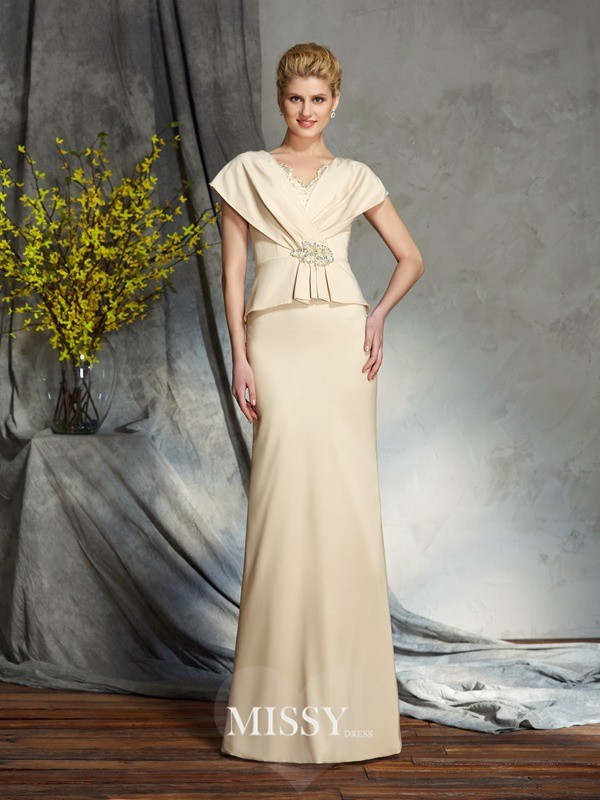 Sheath/Column V-neck Short Sleeves Beading Silk like Satin Floor-Length Mother of the Groom Dress