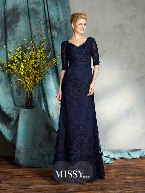 Sheath/Column V-neck 1/2 Sleeves Applique Satin Floor-Length Mother of the Groom Dress