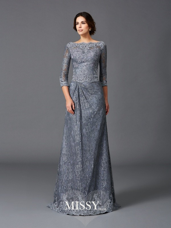 A-Line/Princess Bateau 3/4 Sleeves Lace Sweep/Brush Train Net Mother of the Groom Dresses