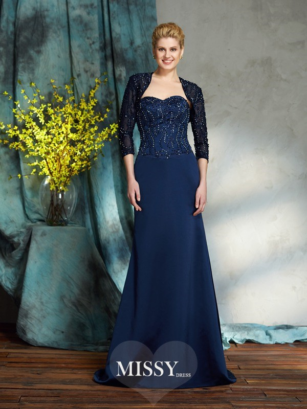 Sheath Sleeveless Sweetheart Satin Floor-Length Mother of the Groom Dresses