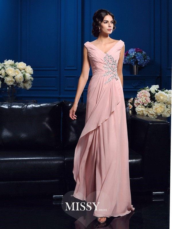 A-Line/Princess V-neck Sleeveless Beading Sweep/Brush Train Chiffon Mother Dresses