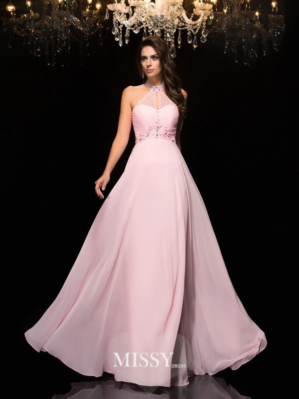 Halter Sleeveless Beading Floor-Length Chiffon Dress