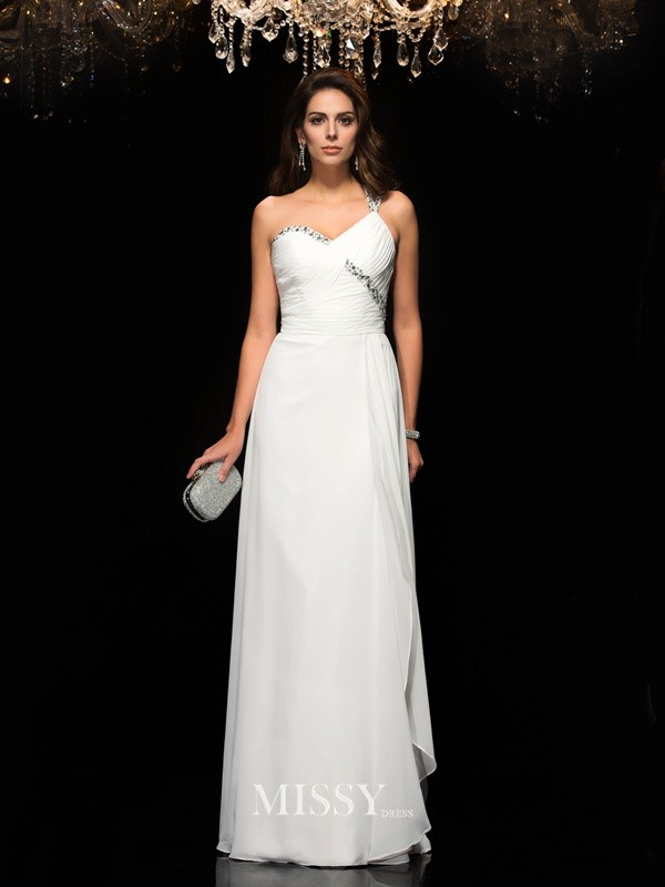 A-Line Sleeveless One-Shoulder Chiffon Beading Floor-Length Dresses