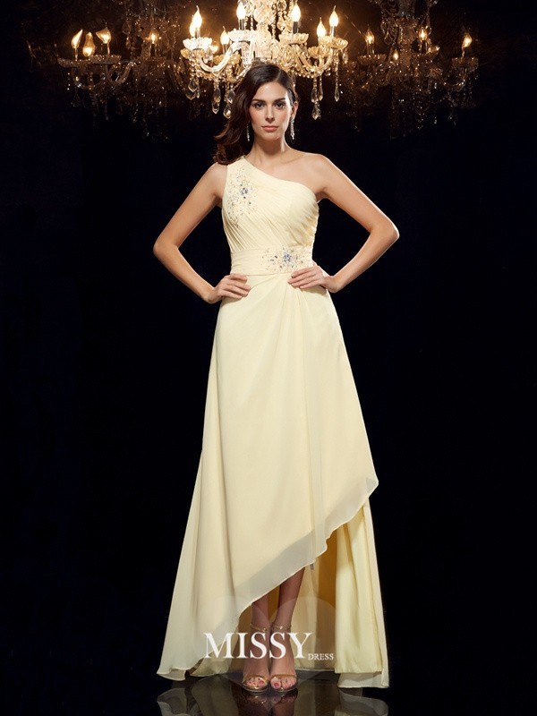 Princess One-Shoulder Beading Sleeveless Asymmetrical Chiffon Dresses