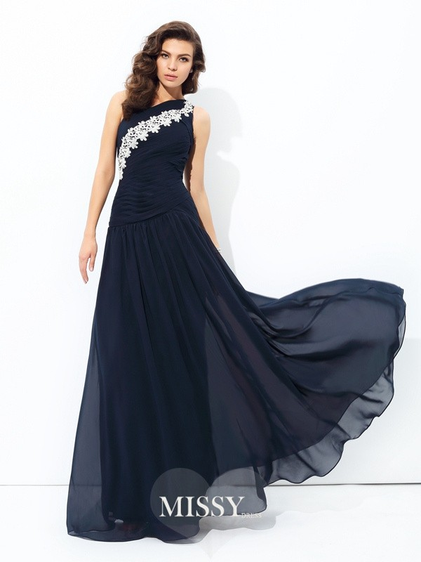 A-Line/Princess Sleeveless One-Shoulder Applique Chiffon Floor-Length Dress