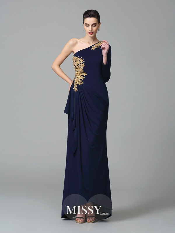 Sheath/Column One-Shoulder Long Sleeves Floor-Length Spandex Dresses