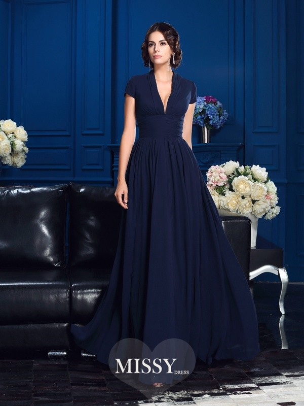 A-Line/Princess V-neck Short Sleeves Chiffon Floor-Length Mother Dresses