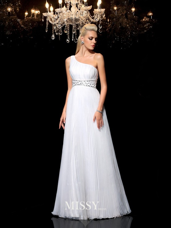 A-Line/Princess One-Shoulder Sleeveless Floor-Length Organza Dresses