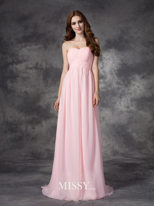 A-line/Princess Sweetheart Sleeveless Ruched Sweep Chiffon Dresses
