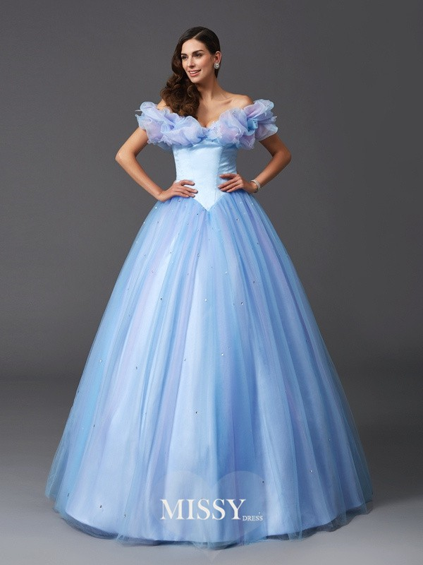 Ball Gown Off-the-Shoulder Sleeveless Beading Net Floor-Length Dresses