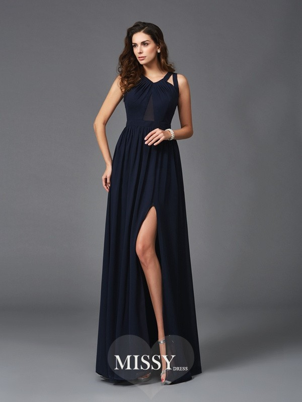 Princess Straps Sleeveless Chiffon Floor-Length Dresses