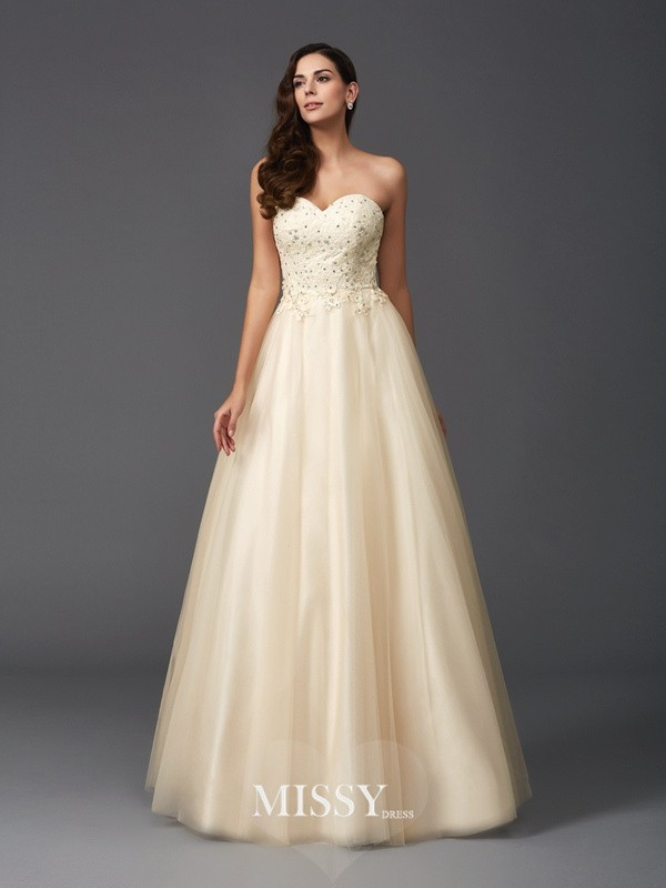 A-Line Sweetheart Sleeveless Beading Net Floor-Length Dresses