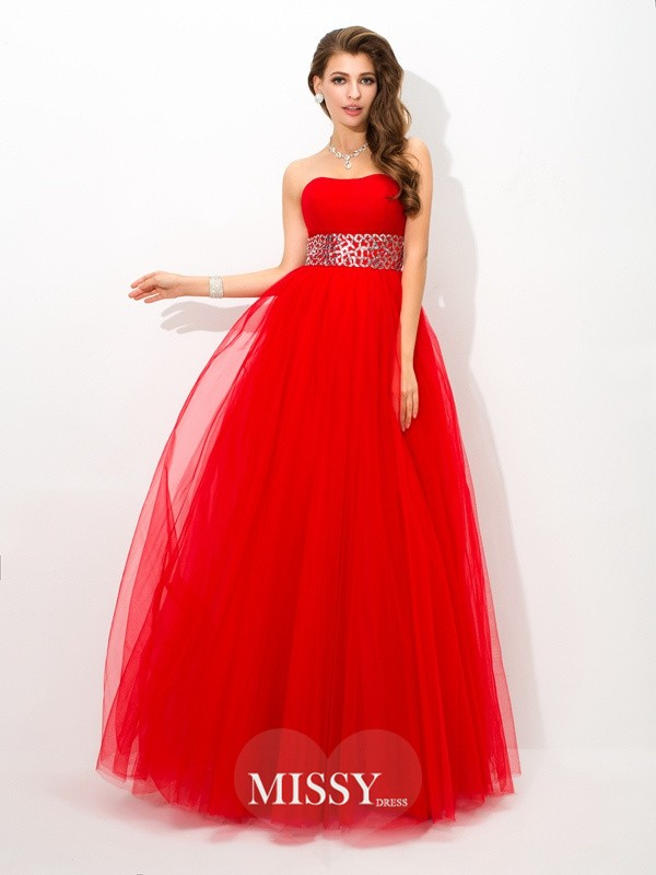 Ball Gown Strapless Beading Floor-Length Net Dresses