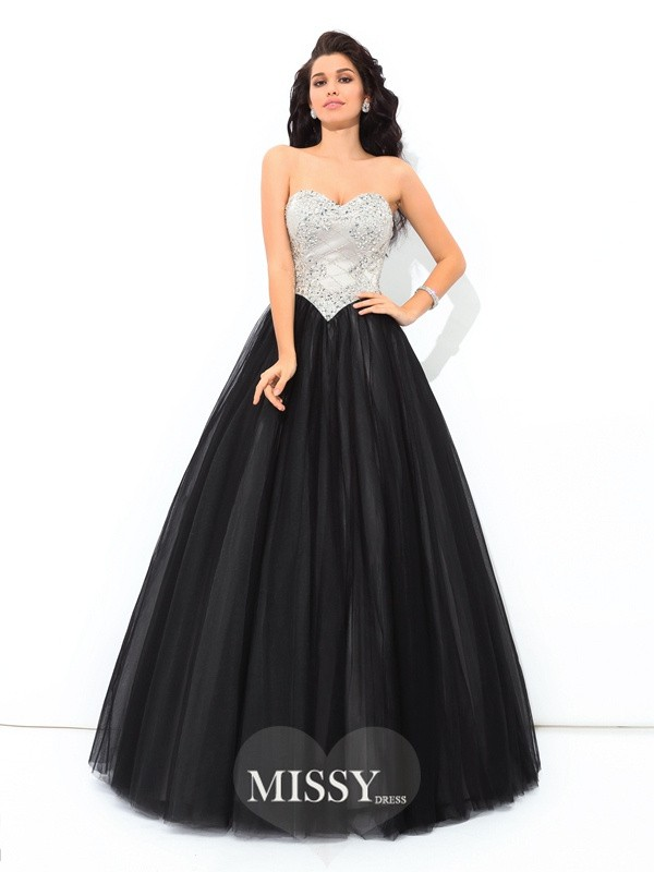 Ball Gown Sweetheart Sleeveless Paillette Floor-Length Net Quinceanera Dress