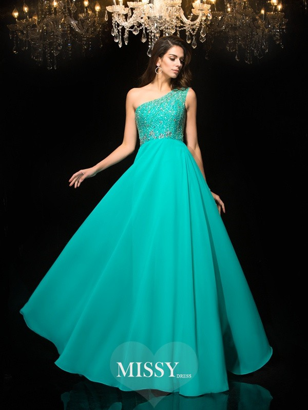 Princess One-Shoulder Sleeveless Beading Chiffon Dresses
