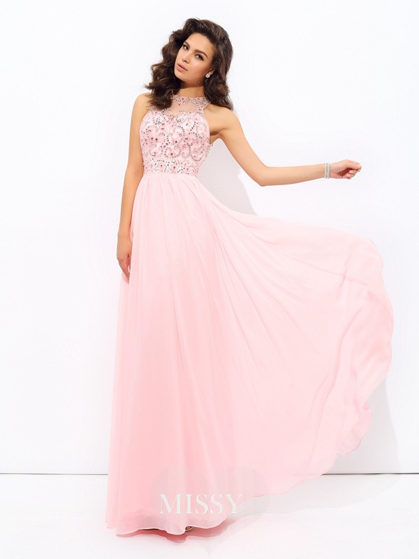 A-Line/Princess Sleeveless Beading Jewel Chiffon Floor-Length Dress