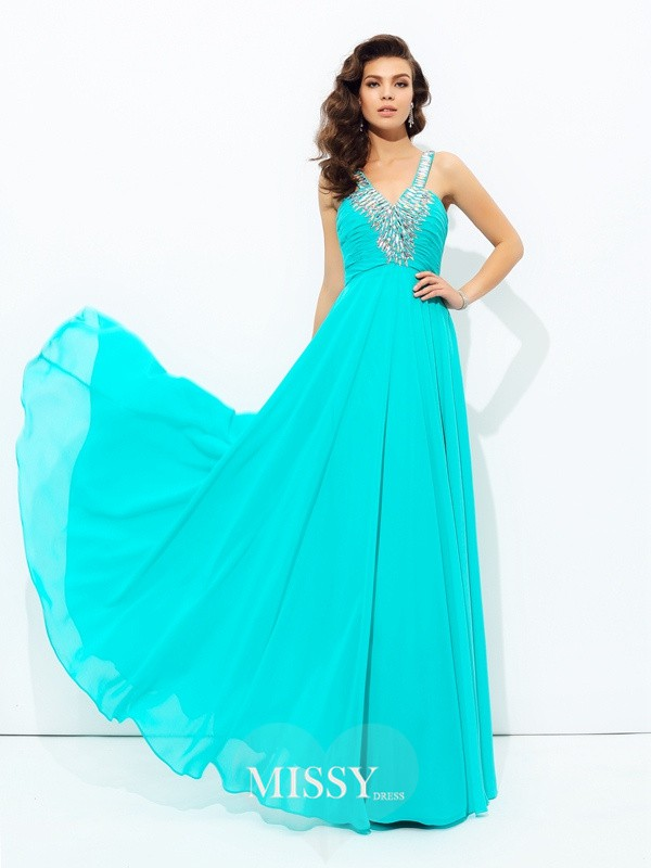 A-Line/Princess V-neck Sleeveless Paillette Chiffon Dress