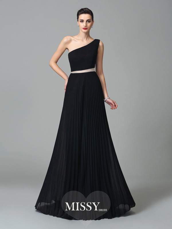 A-Line/Princess One-Shoulder Pleats Floor-Length Chiffon Dresses