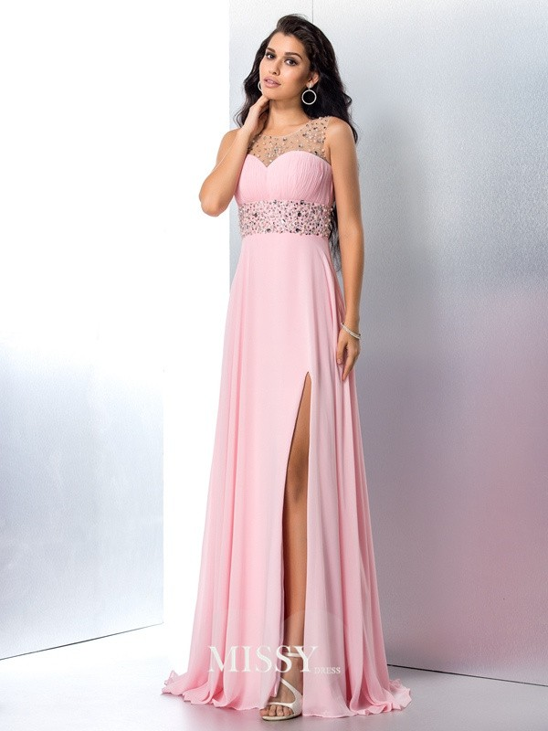A-Line/Princess Sheer Neck Beading Sleeveless Chiffon Sweep/Brush Train Dress