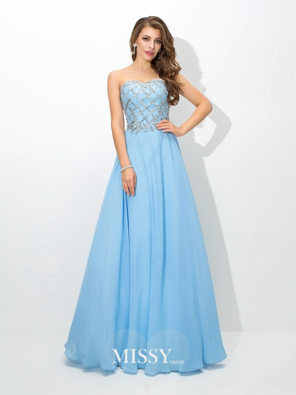 Princess Sweetheart Sleeveless Beading Chiffon Dresses