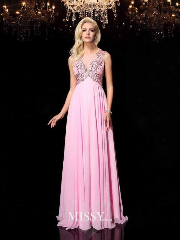 A-line Scoop Beading Floor-Length Chiffon Dress