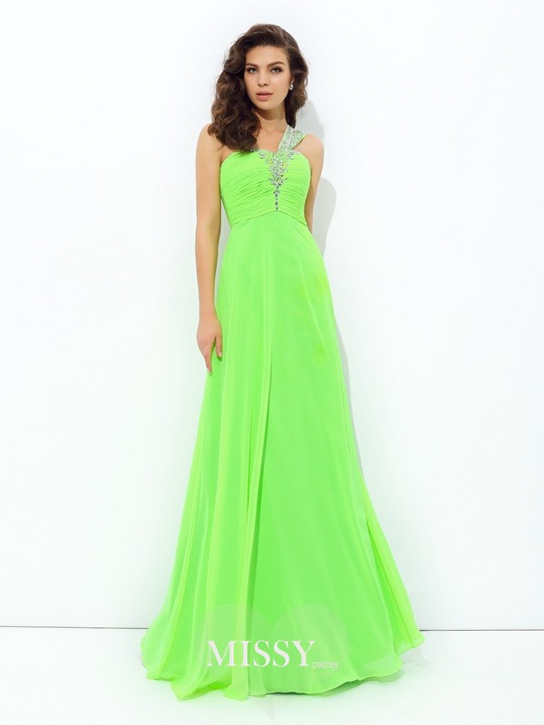 A-Line/Princess One-Shoulder Sleeveless Rhinestone Floor-Length Chiffon Dress