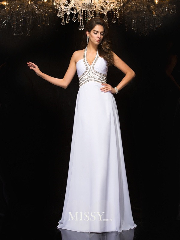 A-Line Sleeveless Halter Floor-Length Chiffon Dresses
