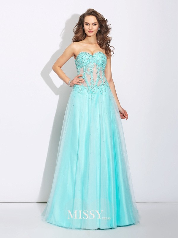 A-Line/Princess Sweetheart Lace Sweep/Brush Train Net Dresses