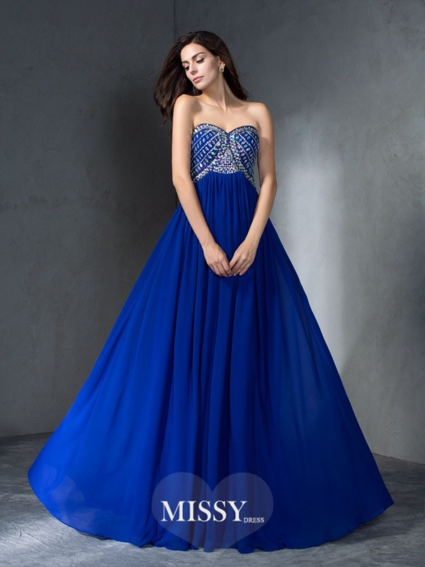 A-Line/Princess Sleeveless Beading Chiffon Sweep/Brush Train Dress