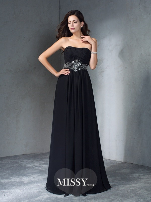 A-Line/Princess Strapless Sleeveless Beading Chiffon Floor-Length Dress