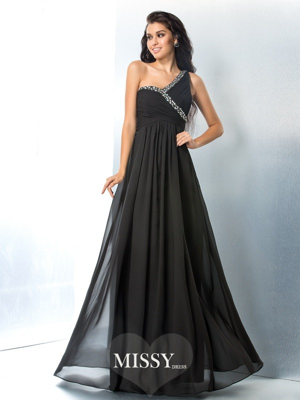 One-Shoulder Beading Floor-Length Chiffon Dress