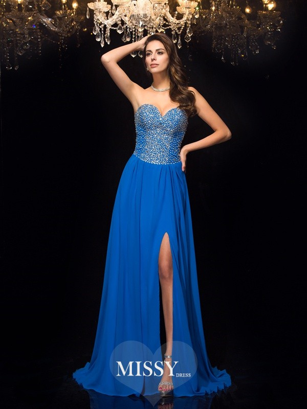 A-Line Sweetheart Sleeveless Chiffon Beading Sweep/Brush Train Dresses