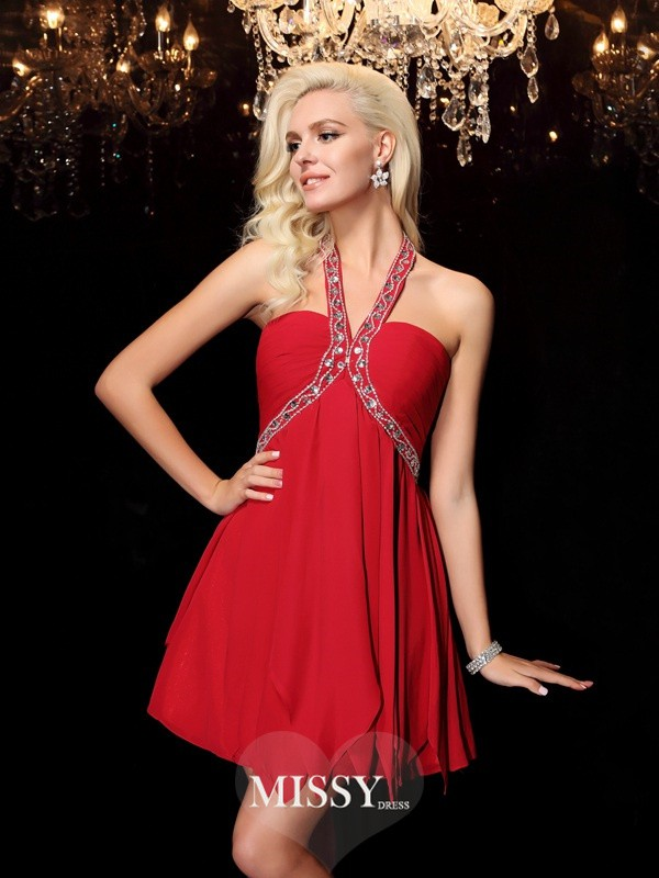Princess Halter Beading Sleeveless Short/Mini Chiffon Dresses