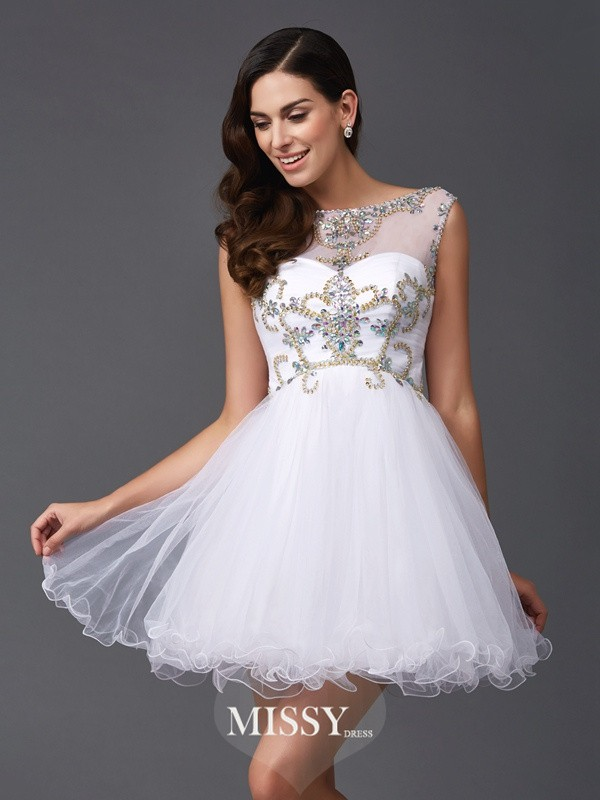 A-Line/Princess Scoop Sleeveless Beading Short Net Dresses