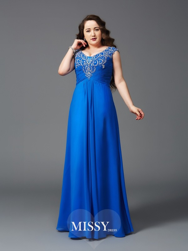 A-Line/Princess Straps Beading Floor-Length Short Sleeves Chiffon Large Size Dresses
