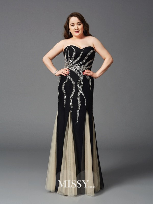 Sheath Sweetheart Beading Sleeveless Floor-Length Chiffon Plus Size Dresses