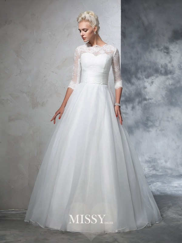 Ball Gown 3/4 Sleeves Jewel Organza Floor-Length Applique Bridal Wedding Dresses