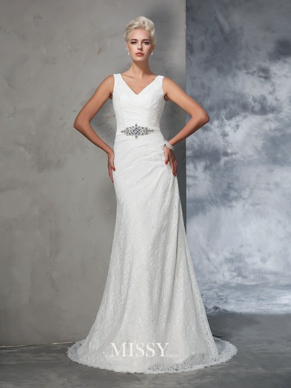 Trumpet/Mermaid Sleeveless V-neck Lace Court Train Bridal Wedding Dresses